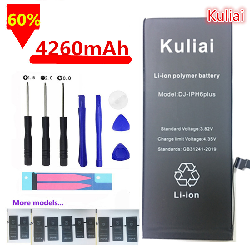 Kuliai Original Mobile Phone Battery For iPhone 6 6s 6s Plus 7  5 Replacement Batterie High  Capacity 4260mAh Internal Bateria-in Mobile Phone Batteries from Cellphones & Telecommunications