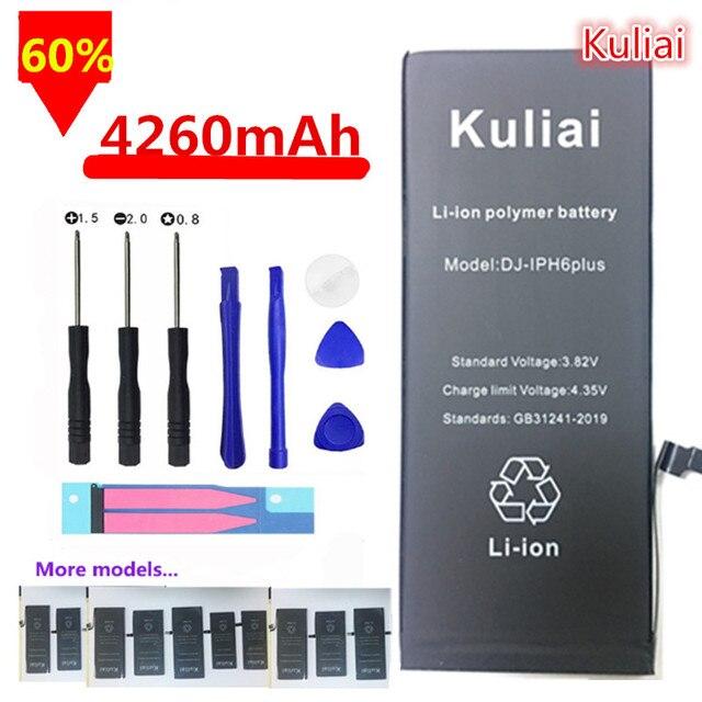 Kuliai Original Mobile Phone Battery For iPhone 6 6s 6s Plus 7  5 Replacement Batterie High  Capacity 4260mAh Internal Bateria