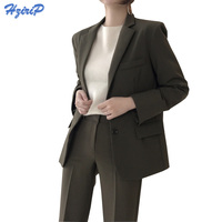HziriP 2017 Women Blazers And Jackets Winter Fall Long Sleeve Suit Collar Western Uniform Style Work