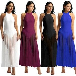 Image 2 - Балетное платье, трико для балета, Женское боди, длинное балетное платье с ложным воротником и сетчатой юбкой макси, танцевальное платье из лайкры
