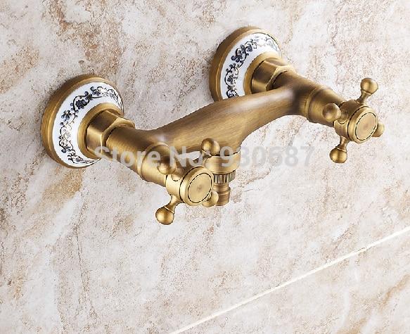 ФОТО Retro Antique Brass Bathroom Washing Machine Faucet Wall Mounted Mixer Tap