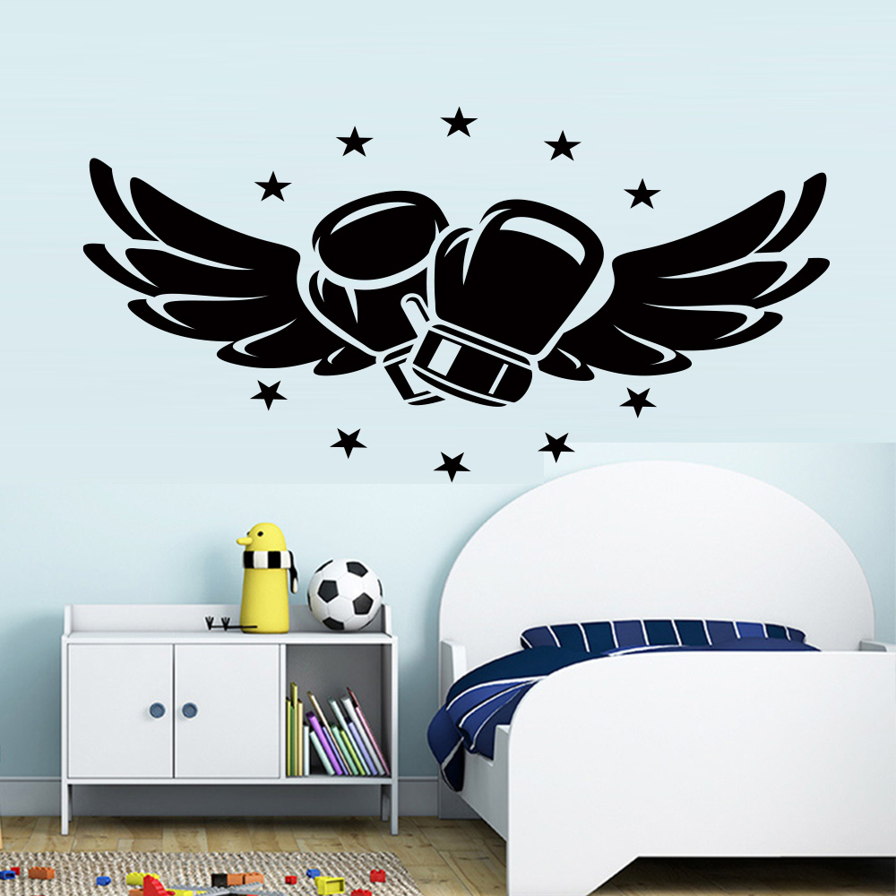 Flying boxing gloves vinyl wall stickers for kids rooms bedroom box hall fitness club boys room decoration accessories wallpaper