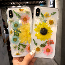 Transparent Phone Case For Iphone 7 6 6s soft tpu For Iphone X XS 6 6s 7 7 plus 8 8plus Gel Dried Flowers phone Cover bag imd gel tpu skin for iphone 6s plus 6 plus pretty flowers and butterflies
