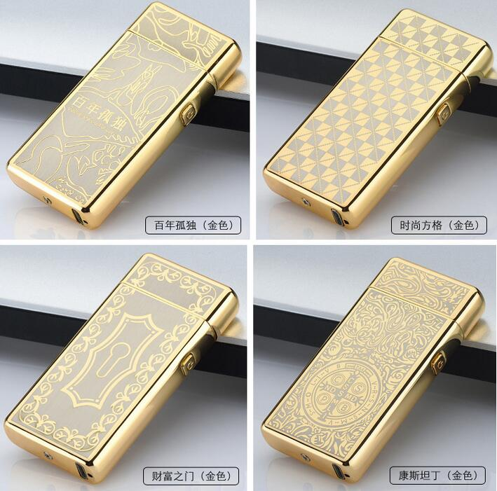 1pcs Multicolor font b Cigarette b font lighter Electric Arc Windproof Rechargeable Flameless No Gas Metal