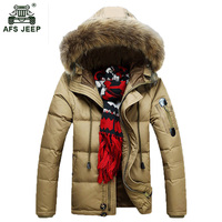 Free Shipping 2015 AFS JEEP Winter Down Jacket Men M 3XL Hooded Long Winter Warm Fashion