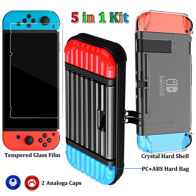 Nintendos Switch Bags Tempered Glass Film Nintend Switch Portable Hard ABS Case Cover Crystal Shell with Grips Caps for NS