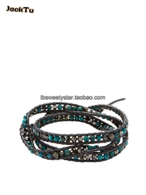 Green Beads Mix Gunmetal Crystal Triple Wrap Leather Bracelet