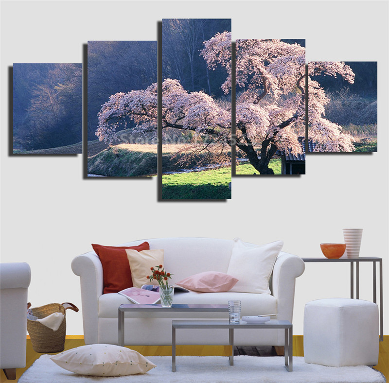5 Pcs Blossomed Cherry Tree Canvas Painting Wall Art