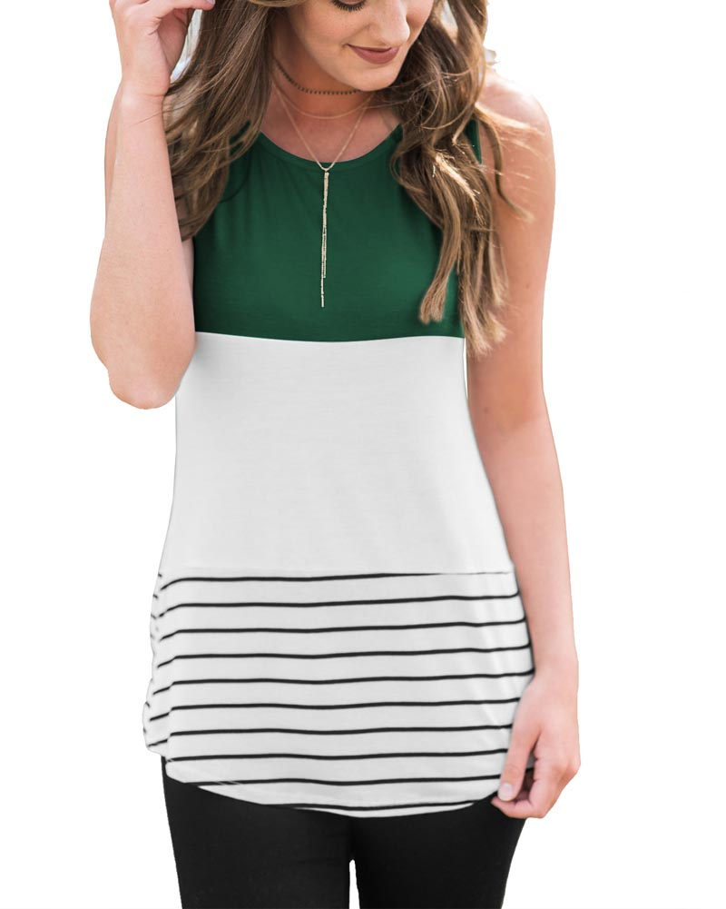 Hitmebox 2018 New Women Color Block Striped Sleeveless T-Shirts Back Insert Lace Patchwork Tanks Female Casual Cami Blouse Tops