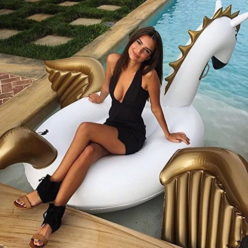 250*250*130cm Giant Golden Pegasus Pool Float Inflatable Rainbow Unicorn Ride-On Water Fun Toys Air Mattress Beach Party Sypply