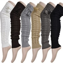 Knitted Women Winter Leg Warmers Knee High Thigh High Tie Cable knitted Long Boot Socks Ladies Boot Leg Warmer(China)