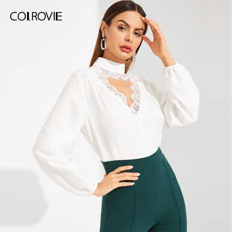 COLROVIE White Choker Neck Eyelash Korean Lace Blouse Women Shirts 2019  Spring Elegant Shirt Office Ladies 4ebe9e67edec