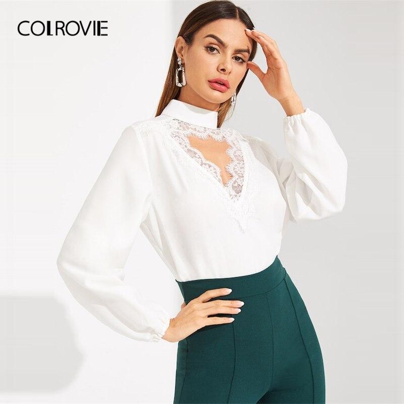 100% Wahr Colrovie Weiß Halsband Neck Wimpern Koreanische Spitze Bluse Frauen Shirts 2019 Frühling Elegantes Hemd Büro Damen Tops Und Blusen Schrumpffrei