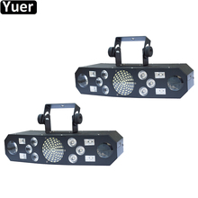 2Pcs/Lot Multifunctions 5IN1 DJ Stage Effect Light DMX512 Voice Control Music Rhythm Flash Light LED Projector Disco Music Light цены онлайн