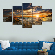 5 Panels /set Clouds and Sun Landscape Painting For Living Room Wall Art Canvas Prints Modern Decorative Pictures Unframed(China)