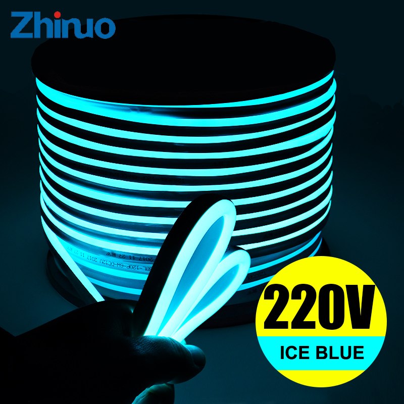 LED Strip Light AC220V SMD2835 Strips Ice Blue Flexible High Brightness Outdoor Neon-Light Neon Sign Waterproof Soft Lamp Belt
