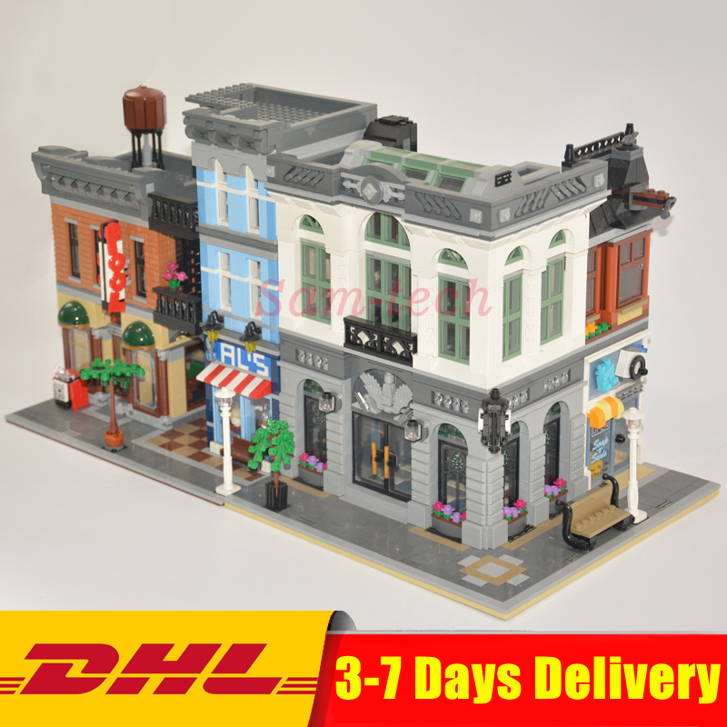 Clone 10251 10197 LEPIN 15001 Brick Bank+15011 The Detectives Office Model Building Kits Blocks Bricks Toys For Children Gifts