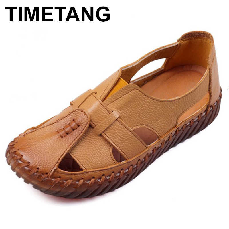 TIMETANG Women's Sandals 2018 Summer Genuine Leather Handmade Ladies Shoe Leather Sandals Women Flats Retro Style Mother Shoes
