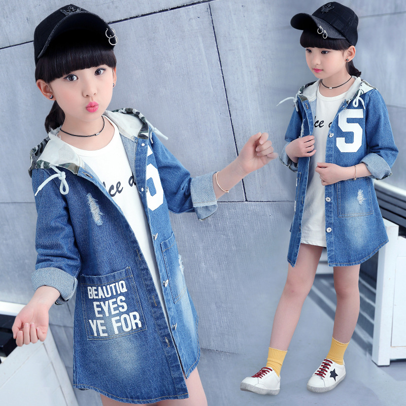 Kids Denim Jacket Children Girls Jackets And Coats Autumn Spring