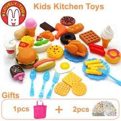 34 pcs Cozinha Crianças Brinquedos De Corte De Frutas De Plástico Vegetal Sorvete Bebida Comida Kit Kat Fingir Educação Jogo Toy Para crianças