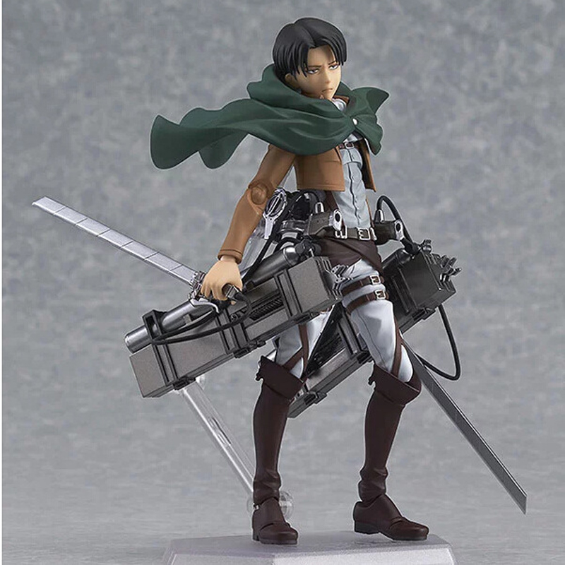 14cm Anime Attack on Titan Shingeki no Kyojin Scouting Legion Levi Rivaille Figma PVC Action Figure Collectible Model Toy 14cm super sonico supersonico movable figma figma ex 023 pvc action figure collectible model toy children toy gift with box