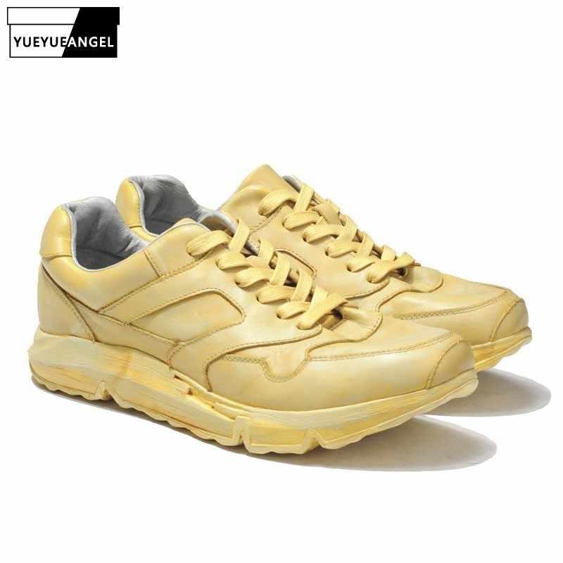 2019 Spring Men Harajuku Genuine Leather Sneakers Thick Platform Hip Hop  Street Dancing Footwear Man Trainer 32b10426bf65