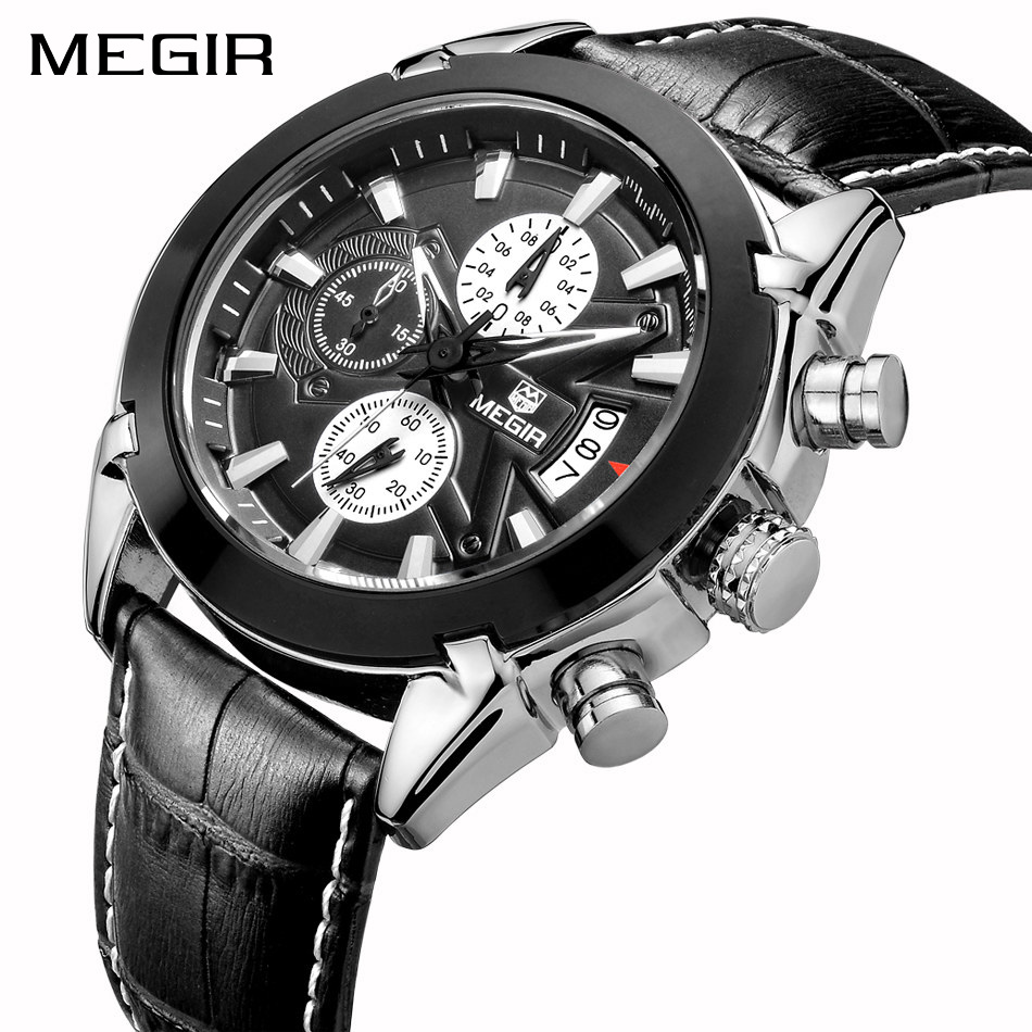 все цены на Top Brand Chronograph Quartz Watch Men Genuine Leather Luxury Military Sport Quartz Watch Waterproof Wristwatch Clock Male онлайн