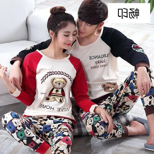 Couple's pajamas Autumn Cotton Long-sleeve  Pyjamas Men Women Sleepwear Pajama Set Ladies lovers pajama pullover