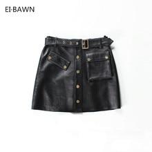 84175e580 2017 new arrival fashion women online short mini black A-line real leather  skirt midi black skirt ladies skirts women in skirts