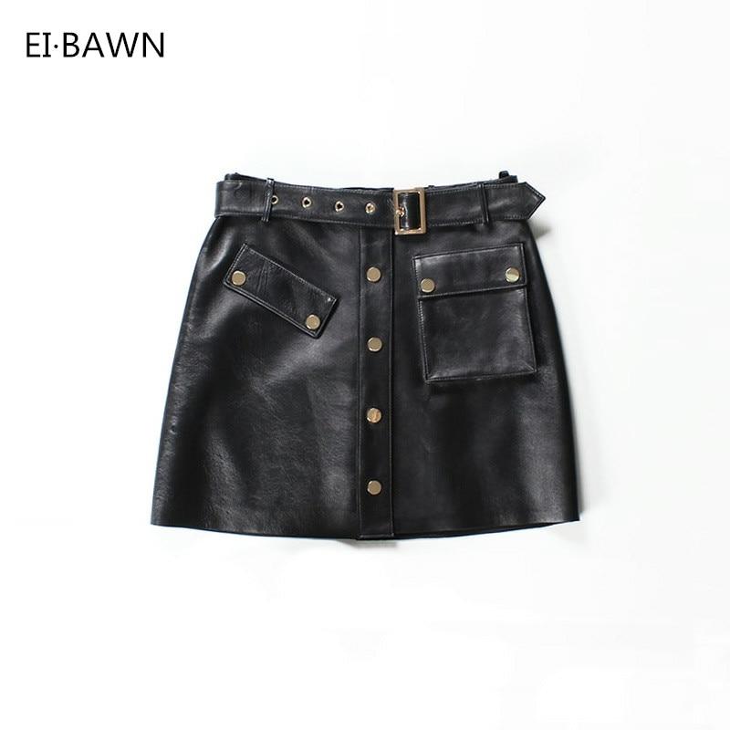 Femmes Dames Mini 2018 Jupes Streetwear Hiver En Cuir Ceinture Femelle Noir Véritable Sexy Automne Coréenne qUzSMVp