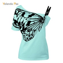 2018 Summer new sexy ladies t shirts fashion short sleeve oblique butterfly print cotton Plus size women Tops tees S-5XL 4-Color