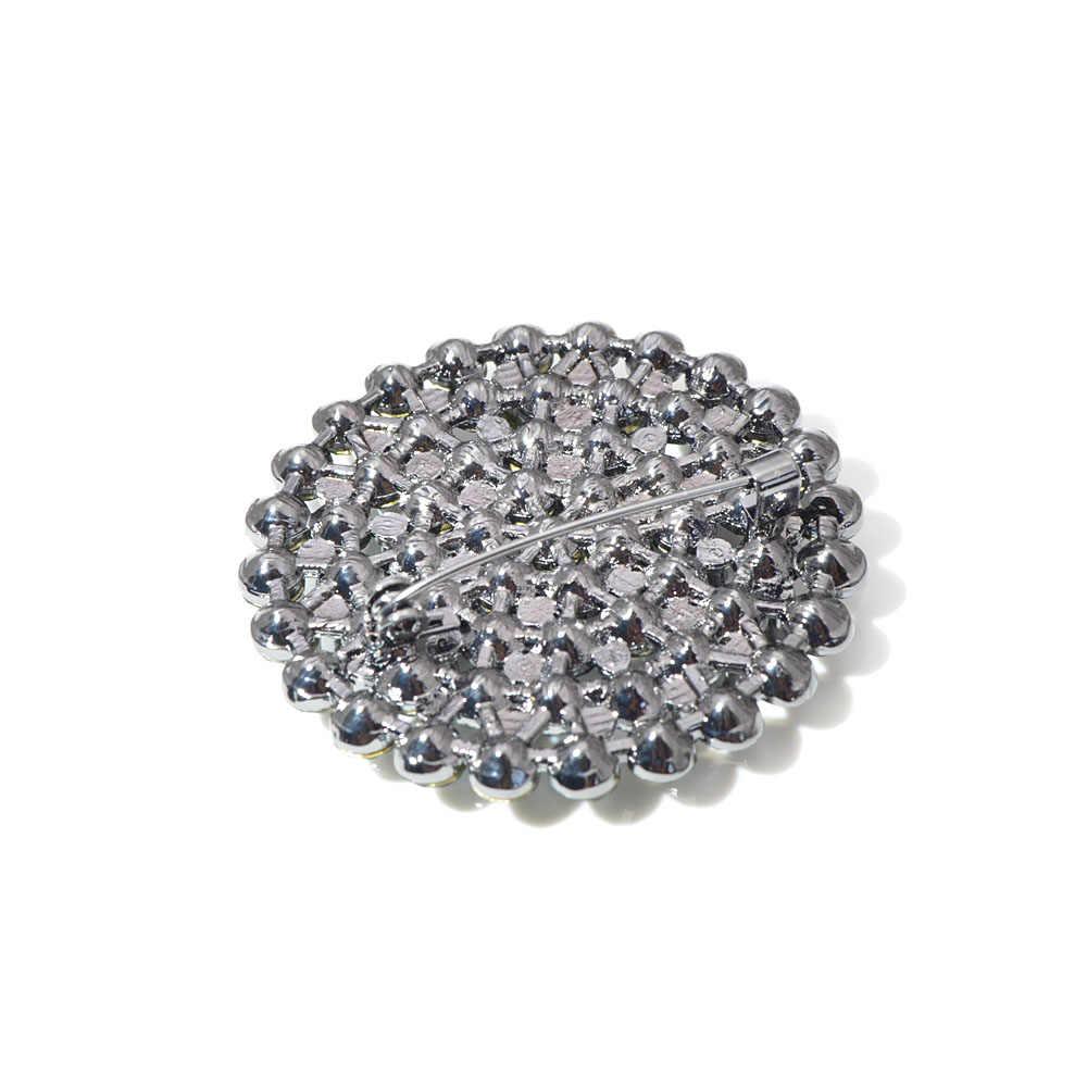 Cindy Xiang 4 Warna Memilih Berlian Imitasi Bulat Besar Bunga Bros untuk Wanita Fashion Double Lapisan Jaket Bergaya Pin Kualitas Tinggi
