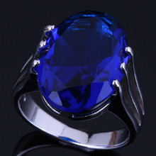 Perfect Oval Egg Blue Cubic Zirconia 925 Sterling Silver Ring For Women V0474 alluring oval blue cubic zirconia 925 sterling silver ring for women v0419