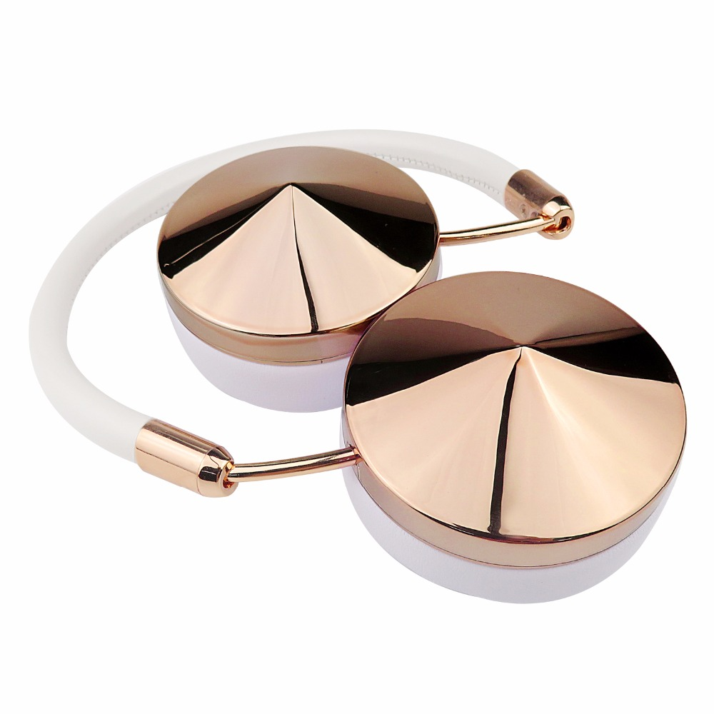 Fashion Rose Gold Wireless Bluetooth Headset Headphone with Microphone Stylish On Ear Share Headphone for Women Girl Liboer BT88-2