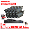 NINIVISION 48V 8 Channel PoE Kit HD 1080P 8CH NVR POE IP Network 2MP Indoor Outdoor