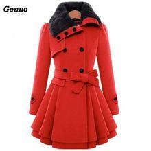 Genuo для женщин воротник с лацканами средней длины куртки женские утепленные осень зима сплошной цвет элегантный двубортный мех шерстяные пальто