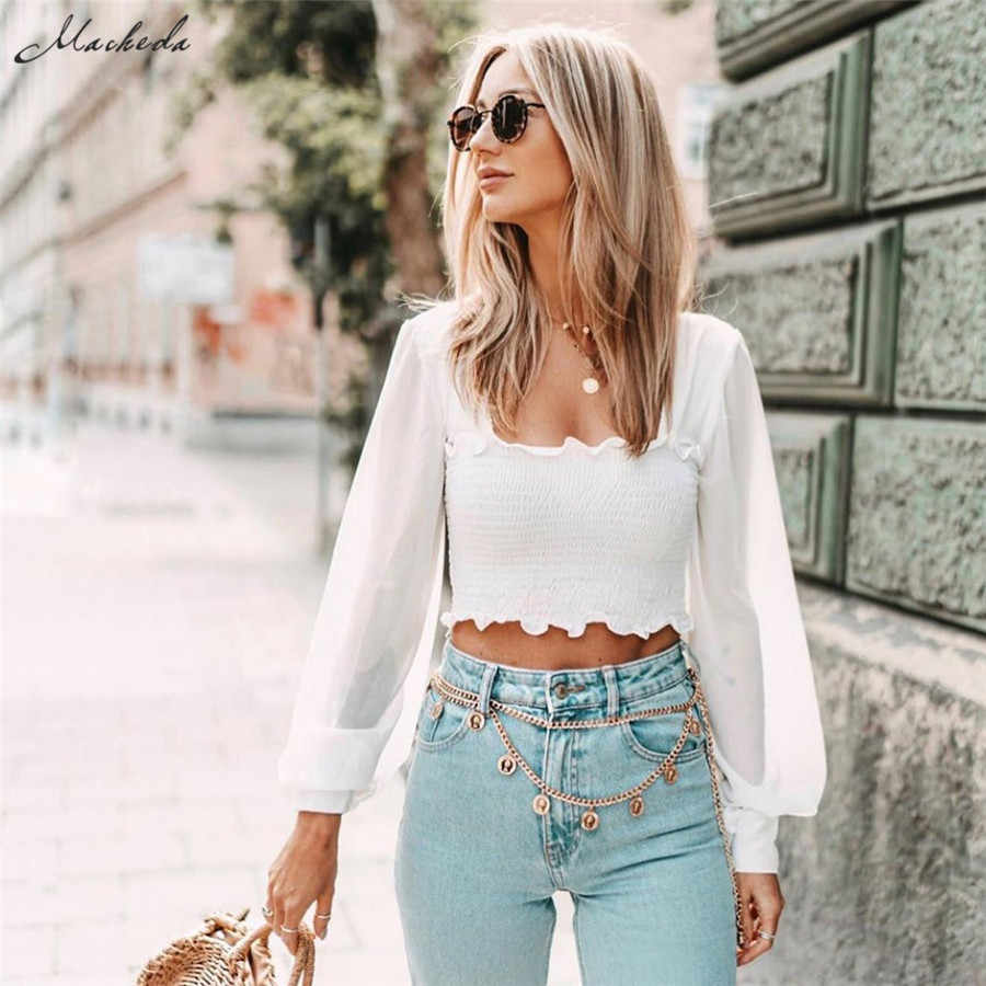Macheda Summer Vacation Style White Long Lantern Sleeve T Shirt Women Square Collar Ruffled Cropped Top Ladies Casual Tee New