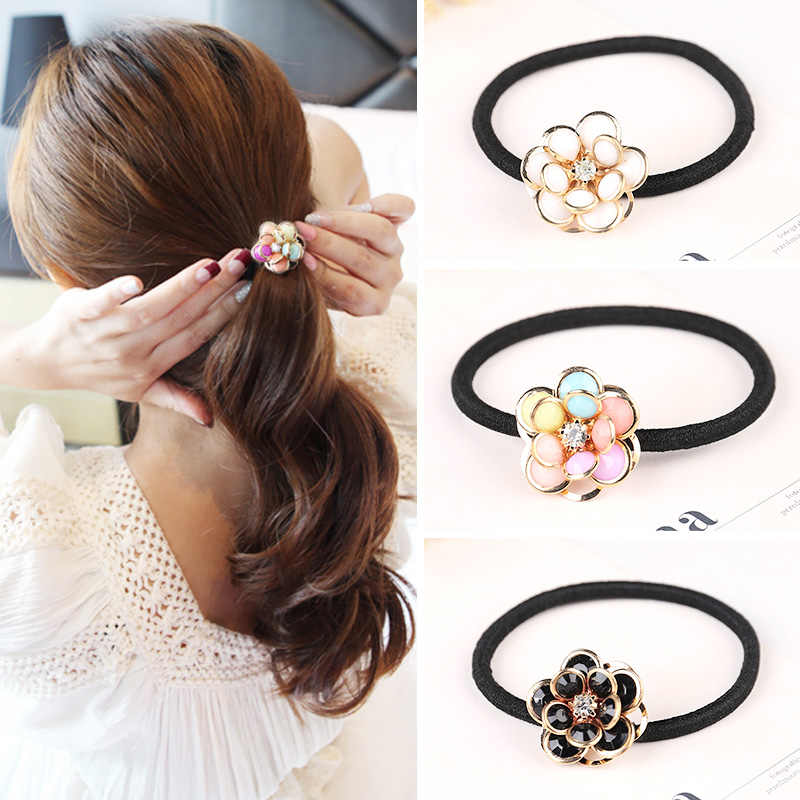 Women Flower Hair Ties Hair Accessories Rhinestone scrunchy Rubber Headband Female Ponytail Gum for Hair Elastic Band