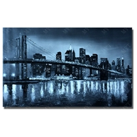 Modern city night beautiful scenery wall art home deocration free shipping stretched landscape modern city picture
