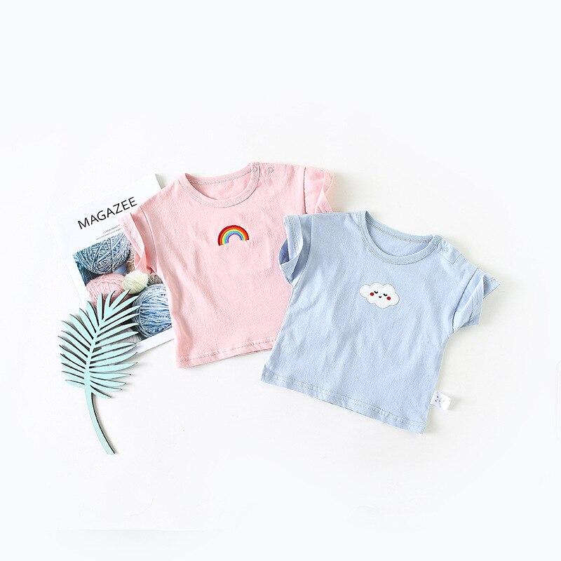 2018 Sommer Neue Oansatz Tops Für Jungen Baumwolle T-shirts Kinder Regenbogen Wolke Stickerei Kinder Casual Kleidung Infant Herbst Kleidung SchöNe Lustre