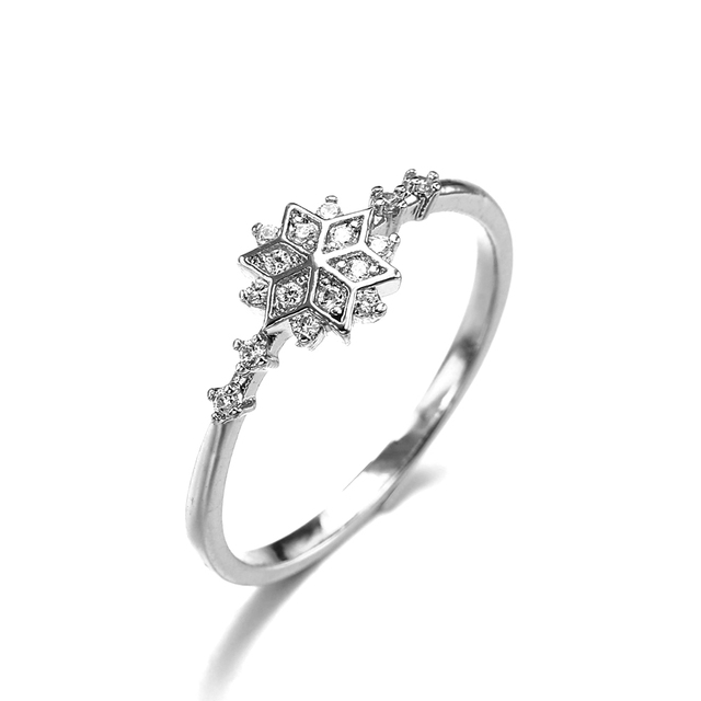 2019 Gold/Silver Color Chic Dainty Snowflake Rings for Women Girls Engagement Wedding Party Anel Jewelry Gift bague femme Z4