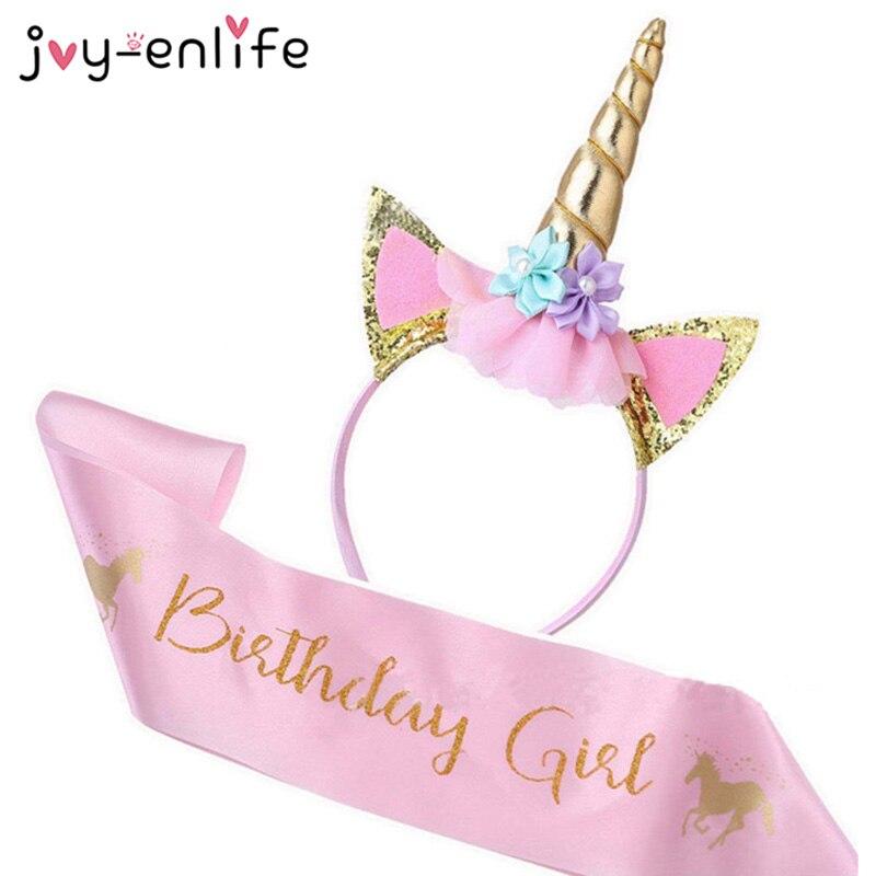 Атласный Шелковый бант для девочек на день рождения, повязка на голову с единорогом, украшение для первого дня рождения, радужные праздничн...