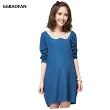 GGBAOFAN Maternity dress autumn large size clothes for pregnant women long sleeve dress