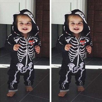 Halloween Costumes For Kids - Skull Skeleton Baby Hooded Jumpsuit