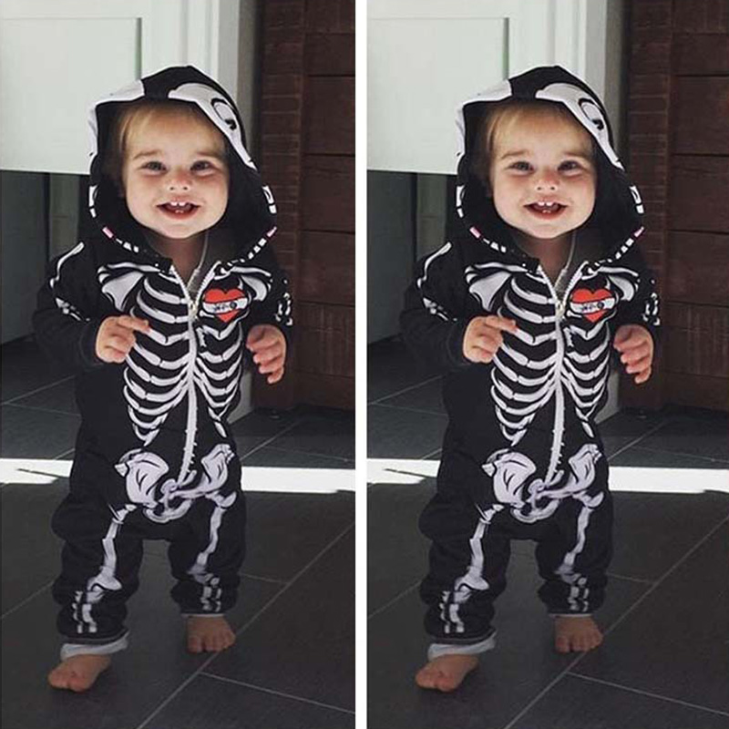 Baby Halloween Costumes For Kids Skull Skeleton Baby   Rompers   Hooded Newborn Clothes For Boys Girls Jumpsuit Toddler Clothing