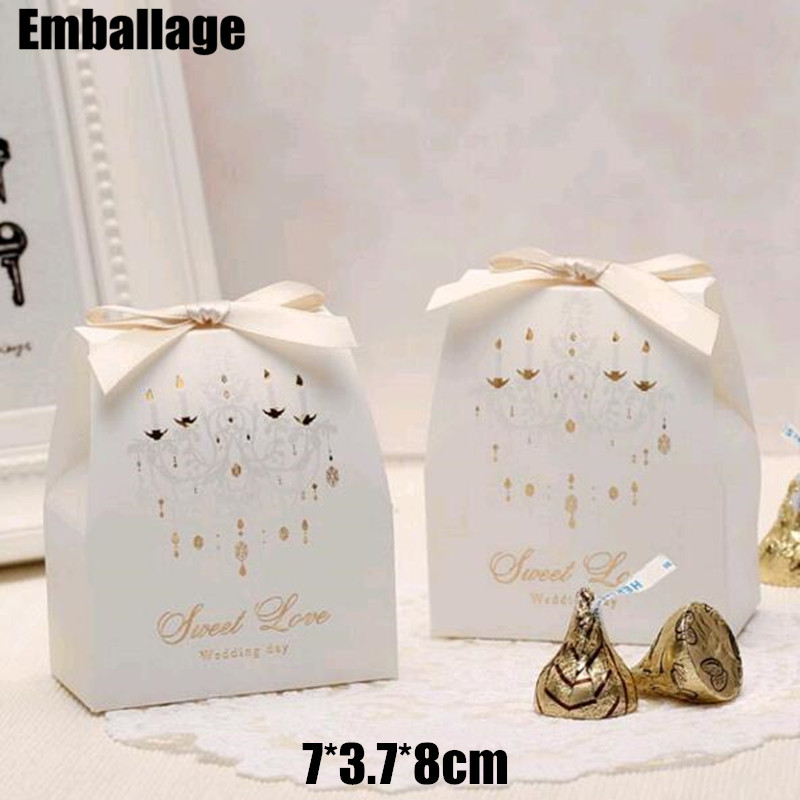 Caixa Kraft Boxes Paper Box 7*3.7*8cm 30pcs/lot White European Married Wedding Chocolate Candy Gift Cardboard Packaging Boxes