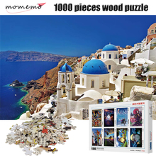MOMEMO The Aegean Sea 1000 Pieces Adult Wooden Puzzle 2mm Thick Landscape Jigsaw Puzzles for Children Educational Toys Gifts