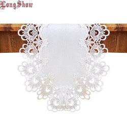 Luxo bordado laço guarnição cor branca slubbed pano estilo floral mesa corredor