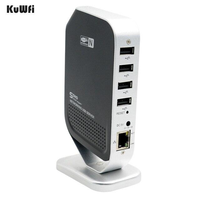 4 Ports Points daccès réseau Fax réseau USB serveur dimpression Stable haute vitesse pour Windows 2000 XP Vista 7 PC USB 2.0 serveur
