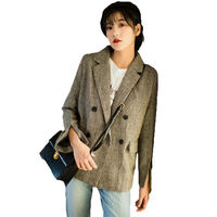 Women's Blazers 2018 Spring Autumn New Korean Vintage British Double Breasted Gray Plaid Suit Jacket for Girls Z275